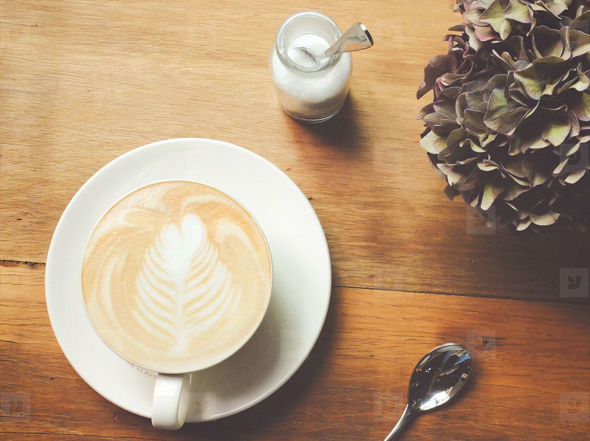 latte coffee on table