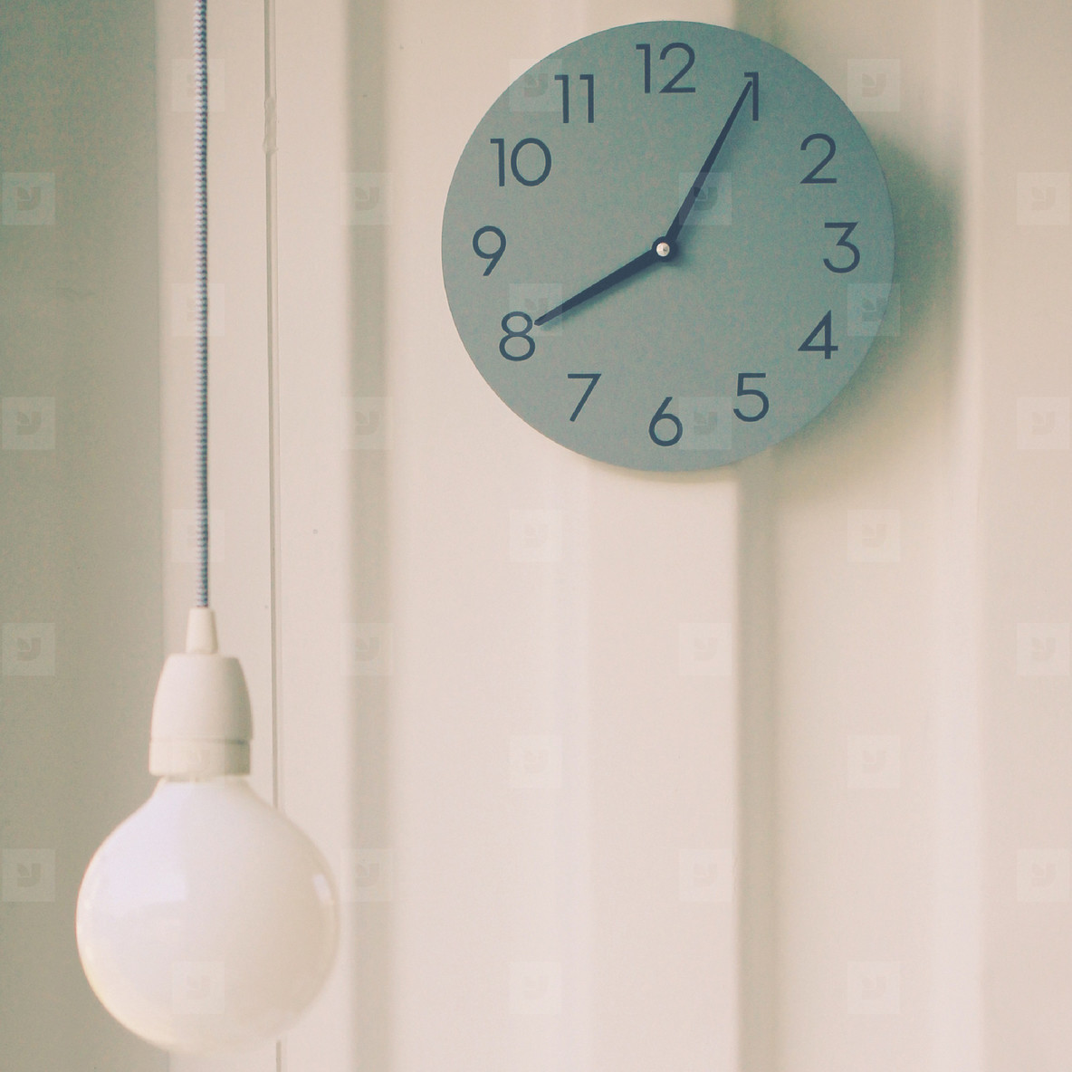 Modern lamp with wall clock