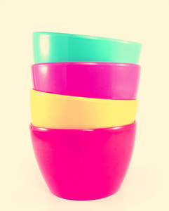 Stack of colorful plastic bowl