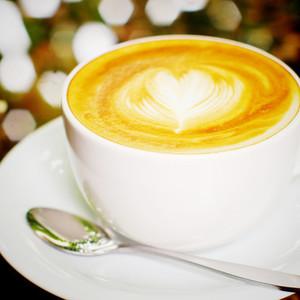 latte coffee with heart shape