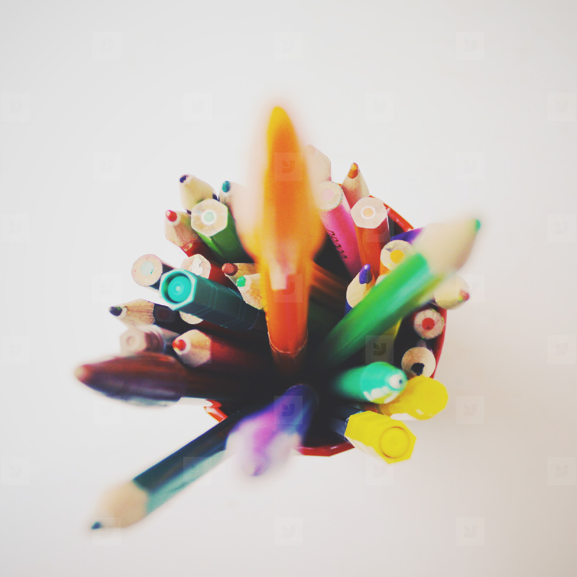 Group of crayons and pens