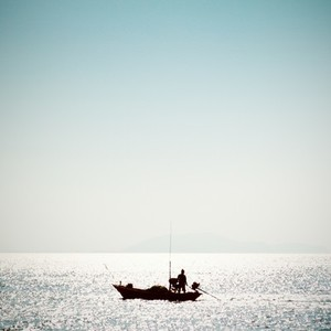 fisherman on the sea