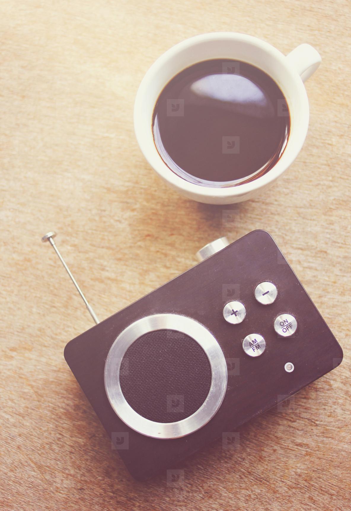 Retro radio and black coffee