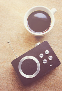Retro radio and black coffee