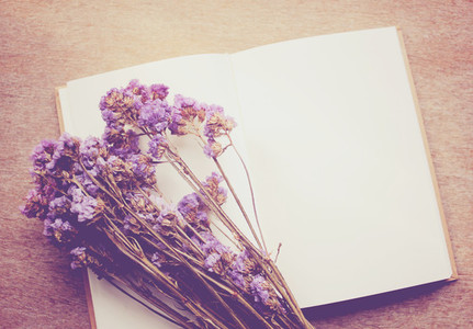 Blank notebook and dried statice