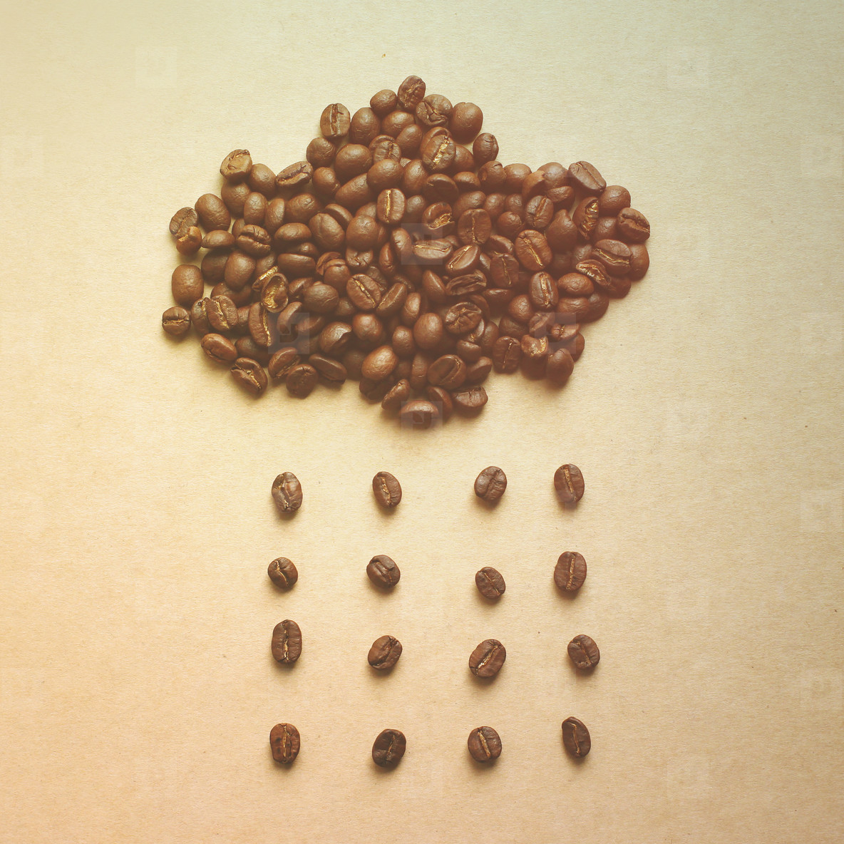 Cloud and rain from coffee beans