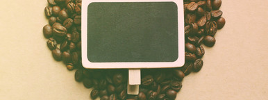 Heart shape from coffee beans