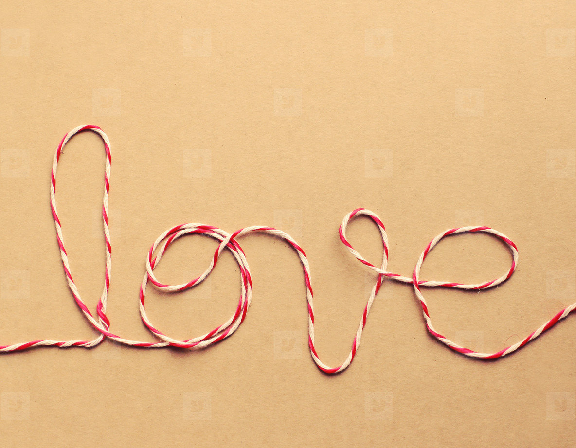 The word love written with rope