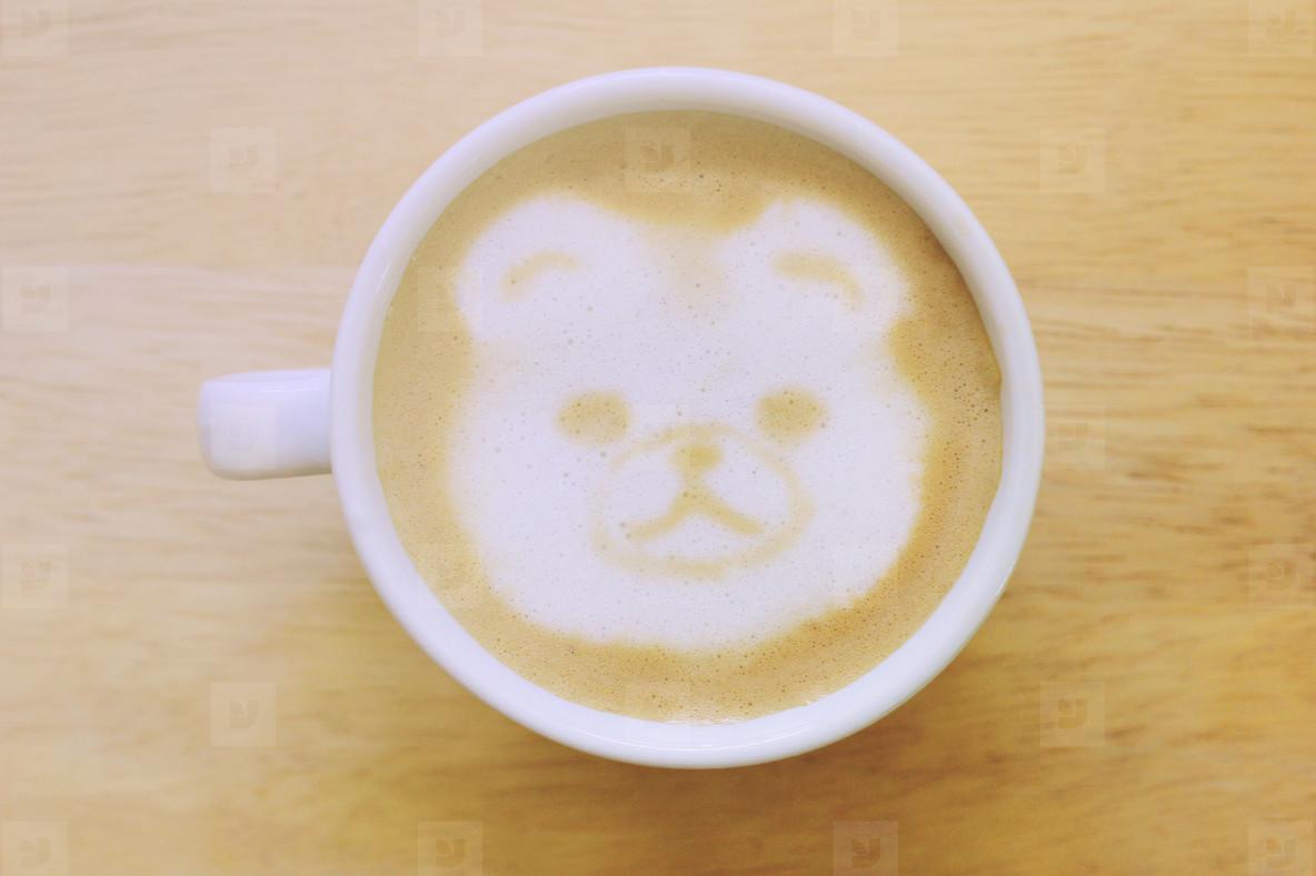 Bear latte art coffee cup