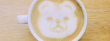 Bear latte art coffee cup