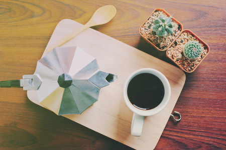 Hot coffee and moka pot