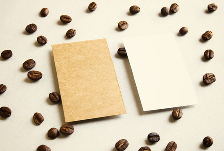 business name card on coffee
