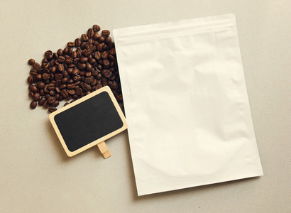 Bag of coffee and blackboard