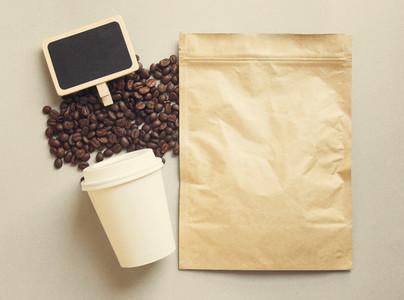 Bag of coffee and blackboard