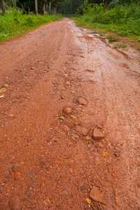 Mud Road after rain in Thailand