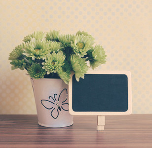 flower with blackboard