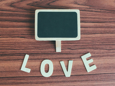 Blank blackboard with love