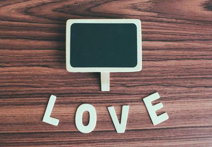 Blank blackboard with love