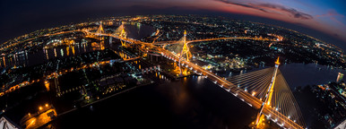The Bhumibol Bridge with fisheye