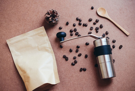 Coffee grinder and bag