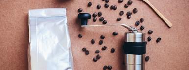 Coffee grinder and bag