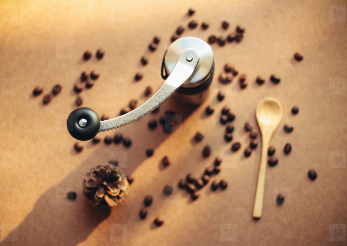 Coffee grinder and spoon