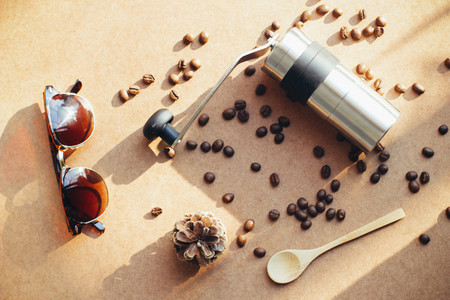 Coffee grinder and sunglasses