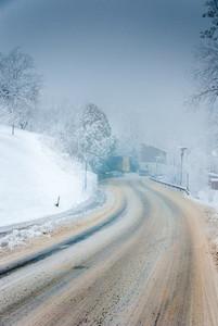 Snowy street   wintertime