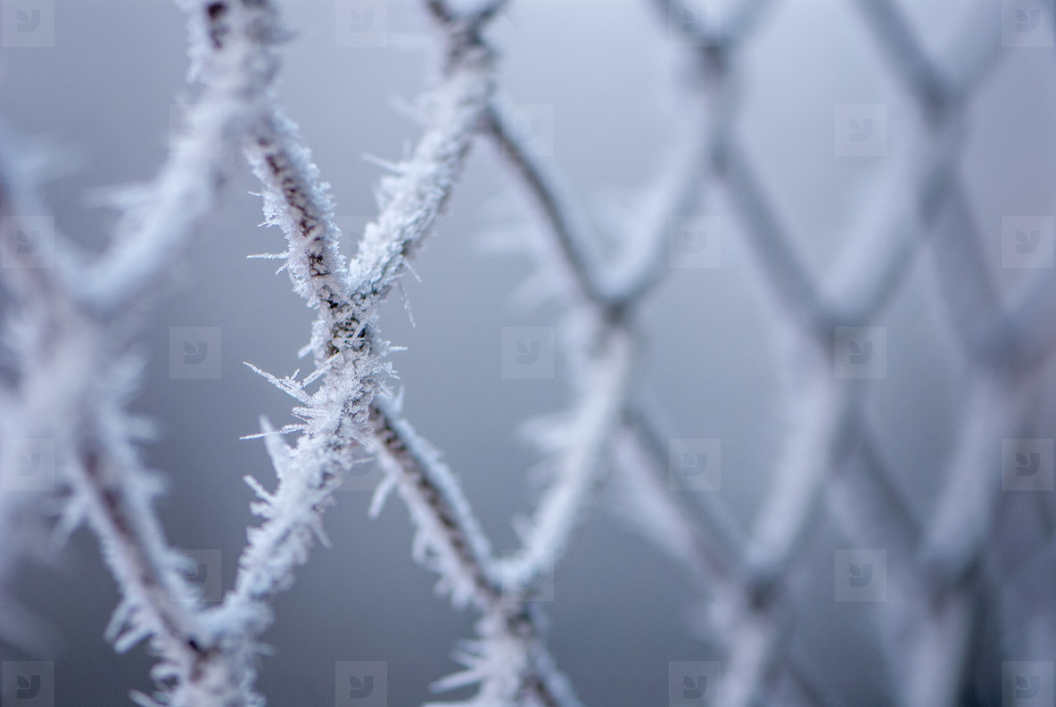 Chain fence wih ice