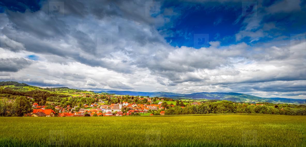 Summer landscape   village