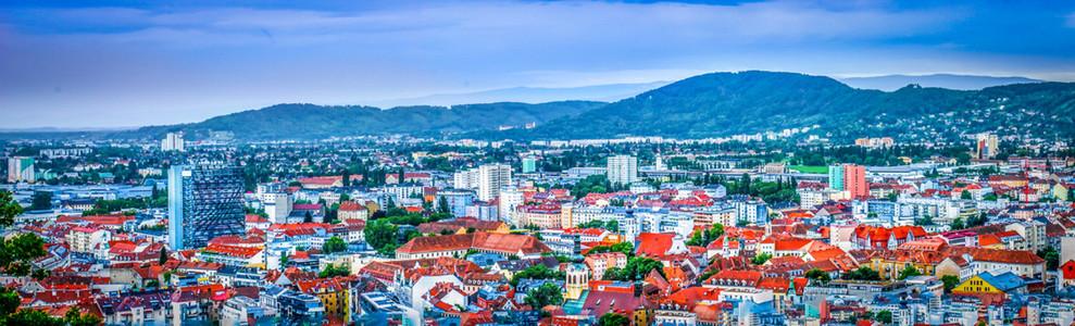 View to an austrian city  Graz