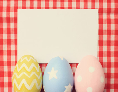 easter eggs and blank paper