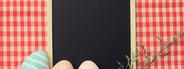 Easter eggs on blackboard