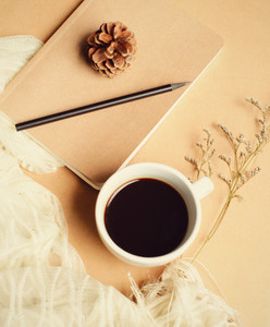 Notebook and hot coffee