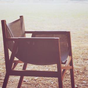 Modern wood chair in the garden