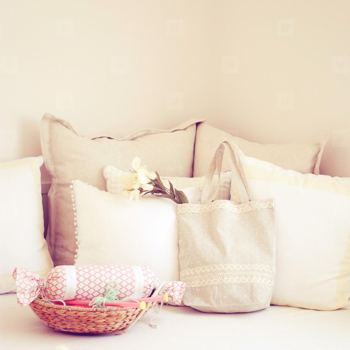 Knitting needles in basket