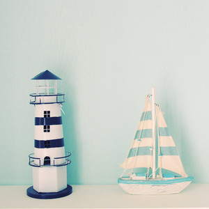 Lighthouse and ship model