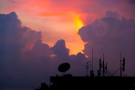 silhouette satellite dish
