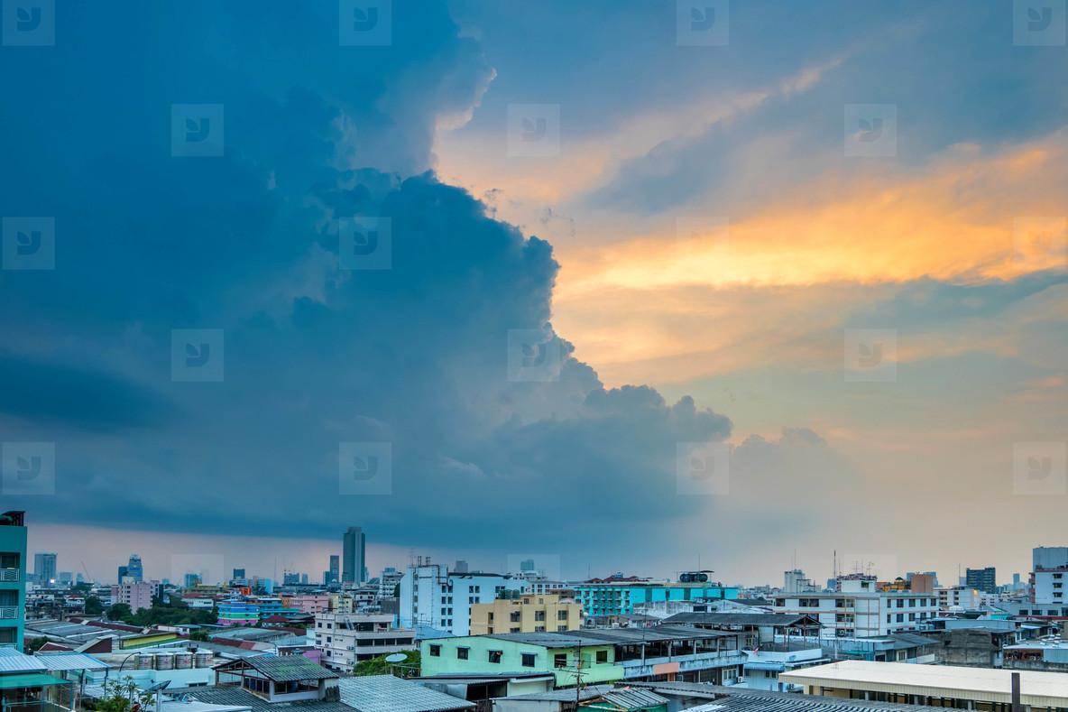 Evening sky of Bangkok cityscape
