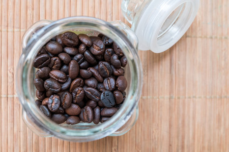 coffee beans in glass jars