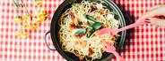 Eating homemade spaghetti
