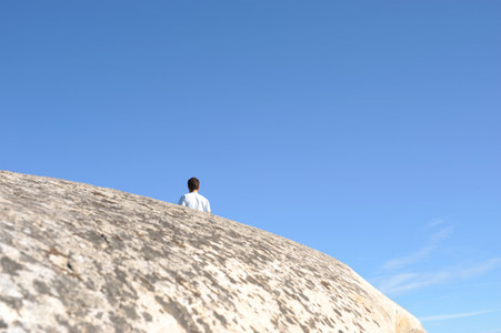 Man on cliffs