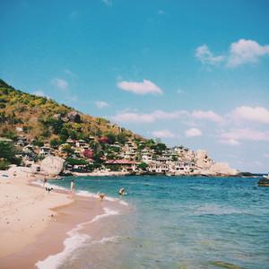 Tropical beach  mountain resort