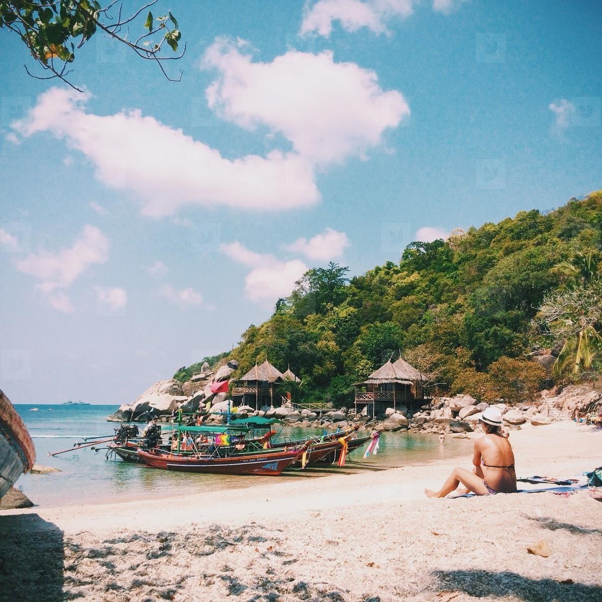 Woman on tropical sandy
