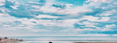 Blue sky with lonely girl
