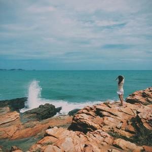 Tropical beach with girl