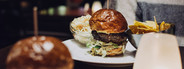 Beef Burgers on wooden table