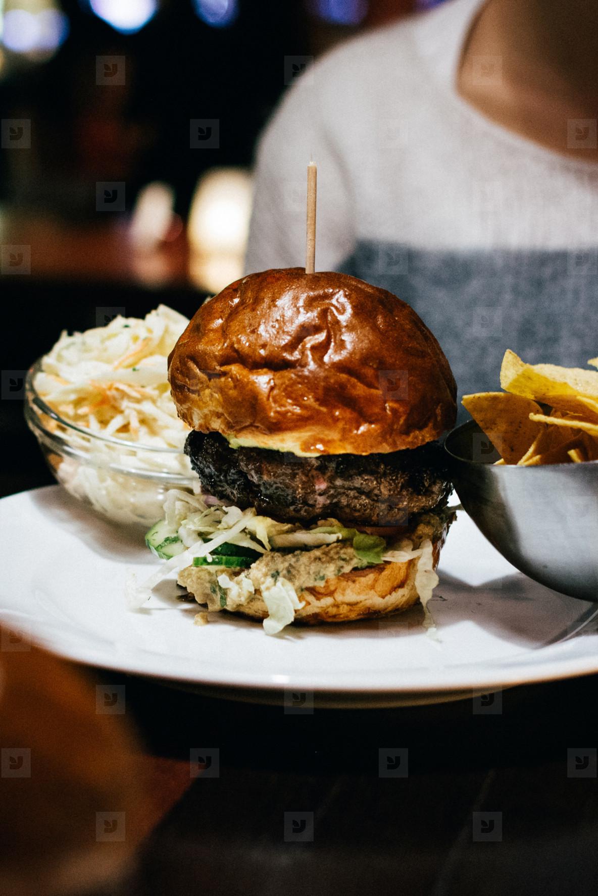 Closeup of a Beef Burger