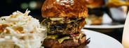 Closeup Beef Burger and Salad