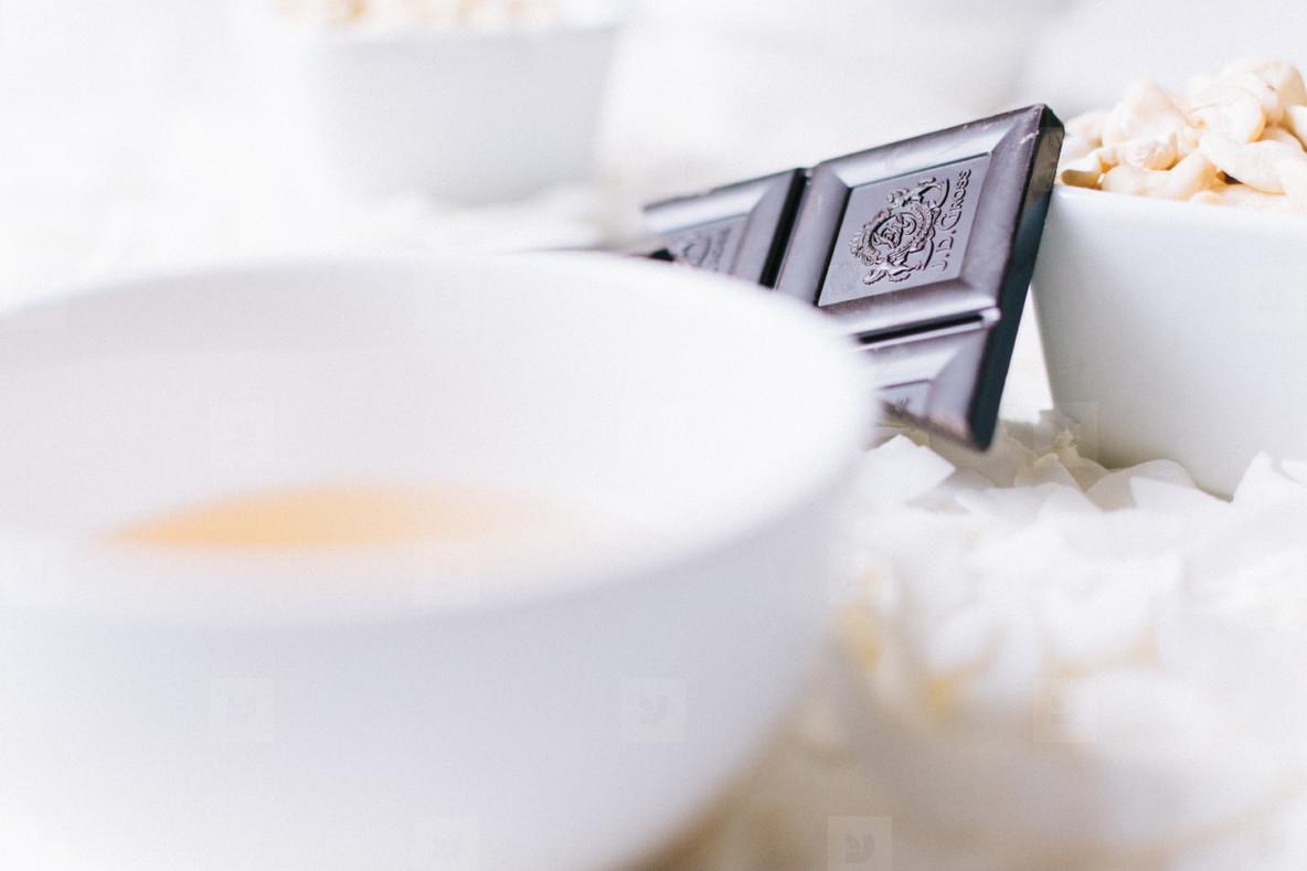 Tea cup and chocolate bar